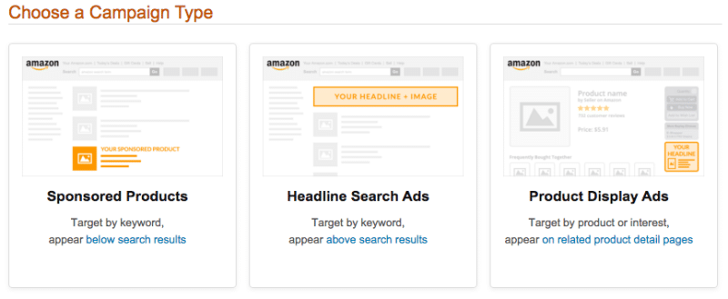 Publicité digitale - Analyse Amazon Advertising Platform - Types de campagnes